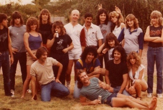 BRITISH STEEL: Todd on the far right along with his brothers, members of Surgical Steel and Rob Halford at an Arizona barbecue circa 1983-85