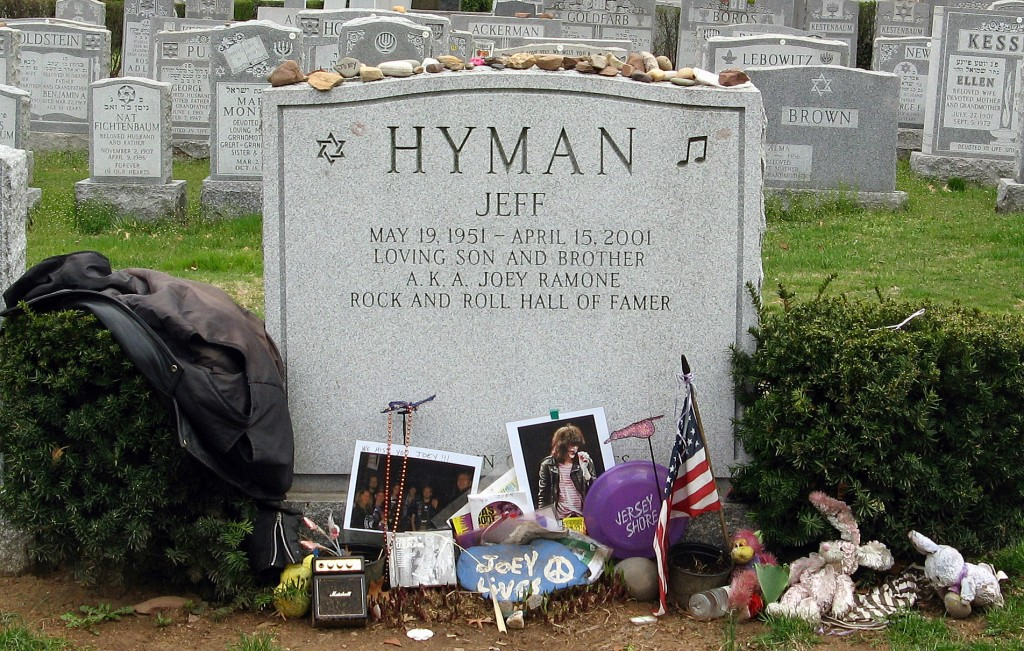 TOO TOUGH TO DIE: Jeffry Ross Hyman, aka Joey Ramone, passed away April 15, 2001. I literally cried when I saw the news on TV. Joey is buried in Hillside Cemetery in Lyndhurst, New Jersey, but his legacy is immortal.