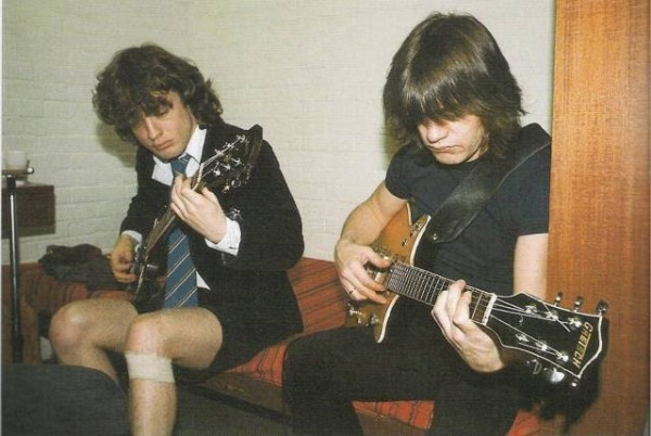 Bad-boy brothers:Angus and Malcolm trading riffs instead of punches.